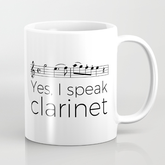"""I speak clarinet"" mugs"