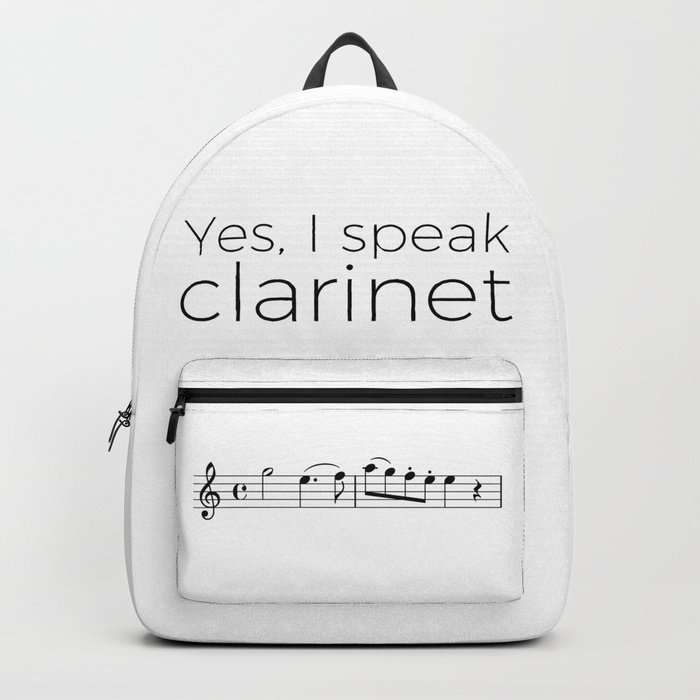 """I speak clarinet"" backpack"