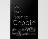 Live, love, listen to Chopin Classical music stationery card