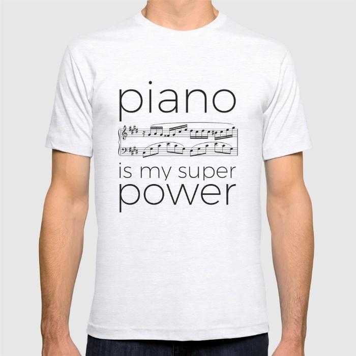 piano-is-my-super-power-white-tshirts