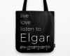 Live, love, listen to Elgar Classical music tote bag