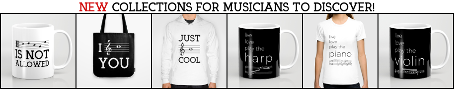 Banner new collections for musicians 2018 - Decaf is not allowed, Just Be Cool, I See You, Live Love Listen to your favorite composer